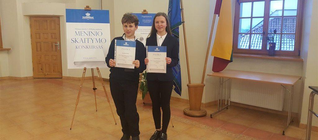 Dvi prizinės vietos Vilniaus miesto meninio skaitymo konkurse!