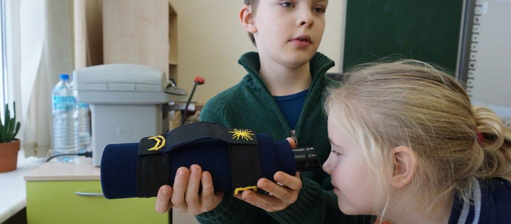 """3c klasės mokinio Evaldo kūrybinis inžinerinis darbas – """"Teleskopas"""""""