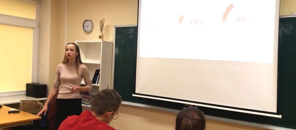 Kalba.lt studijų užsienyje koordinatorės Aistės Rimkutės paskaita IV gimnazinių klasių mokiniams