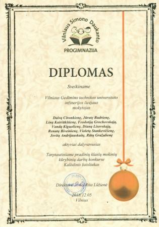 Diplomas mokytojoms Kalėdinis žaisliukas-1