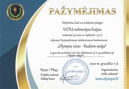 VGTU licėjus Ollympis 2020 ruodens sesija REZULTATAI page-0001