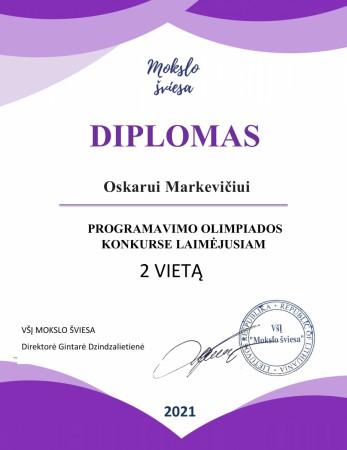 Oskaro 2a diplomas